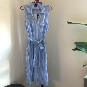 Striped cotton dress, button down, collared tank L